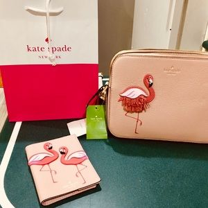 NWT Kate Spade Flamingo purse and passport holder